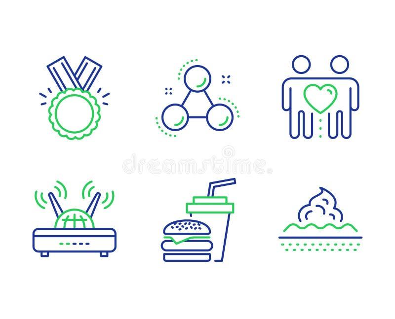 Zestaw ikon Wifi, Friends parę i Honor Hamburger, cząsteczka chemii i znaki pielęgnacyjne skóry Wektor royalty ilustracja