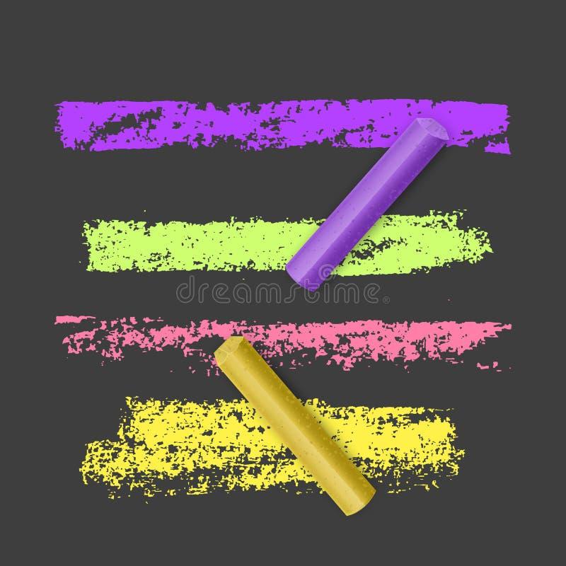 Zestaw jasnych, kolorowych pędzli kredowych na ciemnym tle Grunge line z teksturą kredy Rączkowe elementy konstrukcyjne, wektorow ilustracja wektor