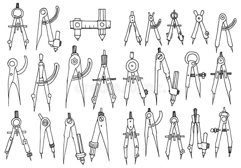 Zestaw kompasów Ilustracja rysunkowa Drzwi narysowane ręcznie Wektor kreskowy eps10 royalty ilustracja