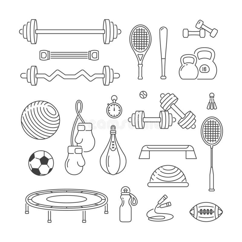 Zestaw liniowych ikon wektorowych sprzętu sportowego Ćwiczenia dotyczące kondycji ilustracja wektor