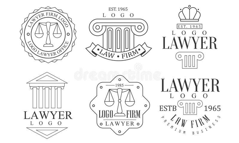 Zestaw logo dla biura prawnika Retro, Ilustracja wektorowa etykiet dla firm prawniczych Premium royalty ilustracja