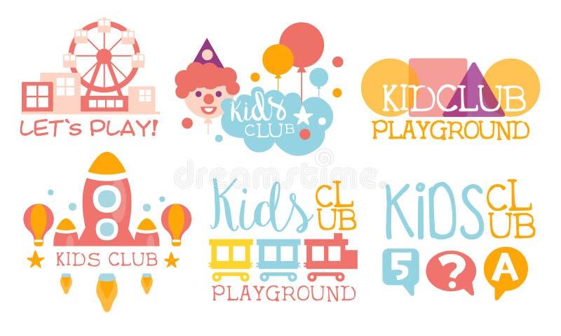 Zestaw logo Kids Land Club, plac zabaw, centrum edukacyjne dla dzieci - prezentacja wektorowa etykiet w kolorze ilustracji