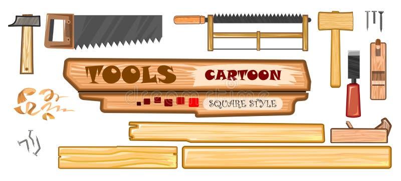 Zestaw narzędzi łącznika Wektor Młot stalowy i drewniany, piła, piła dziobowa, gwoździe, gwoździe gięte, golenie, dłuto ilustracja wektor