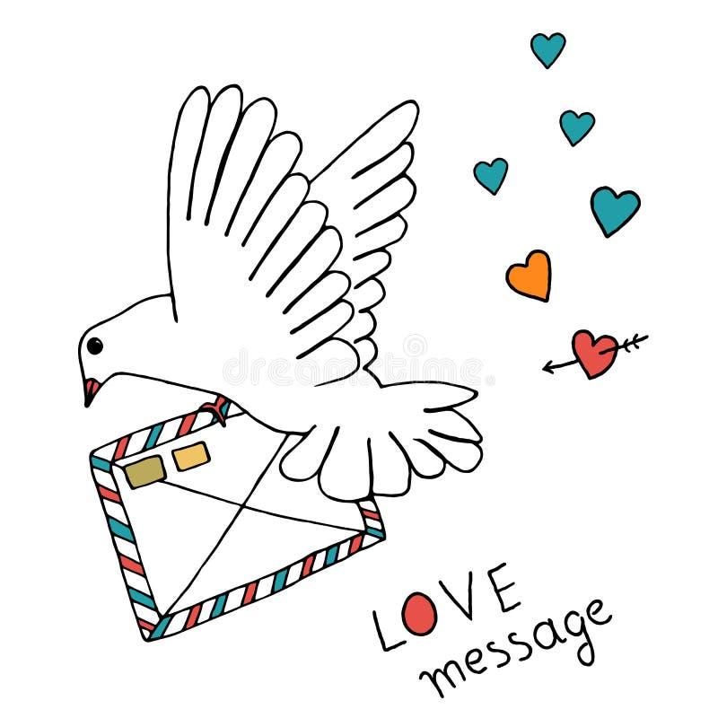 Zestaw pocztowy gołębi ilustracji