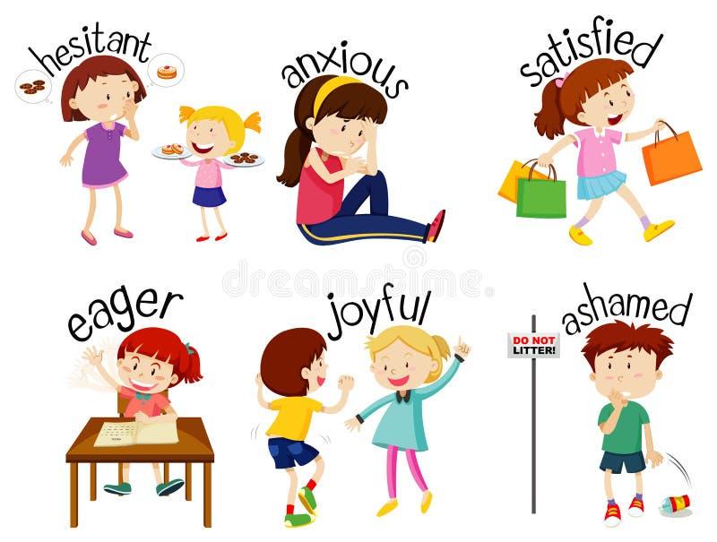 Zestaw przymiotnych słów z dziećmi wyrażającymi swoje uczucia ilustracja wektor