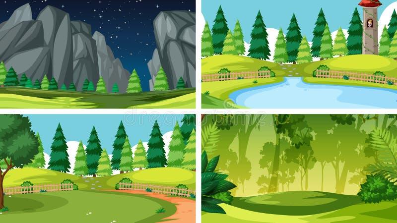 Zestaw scen w ustawieniach natury obraz royalty free