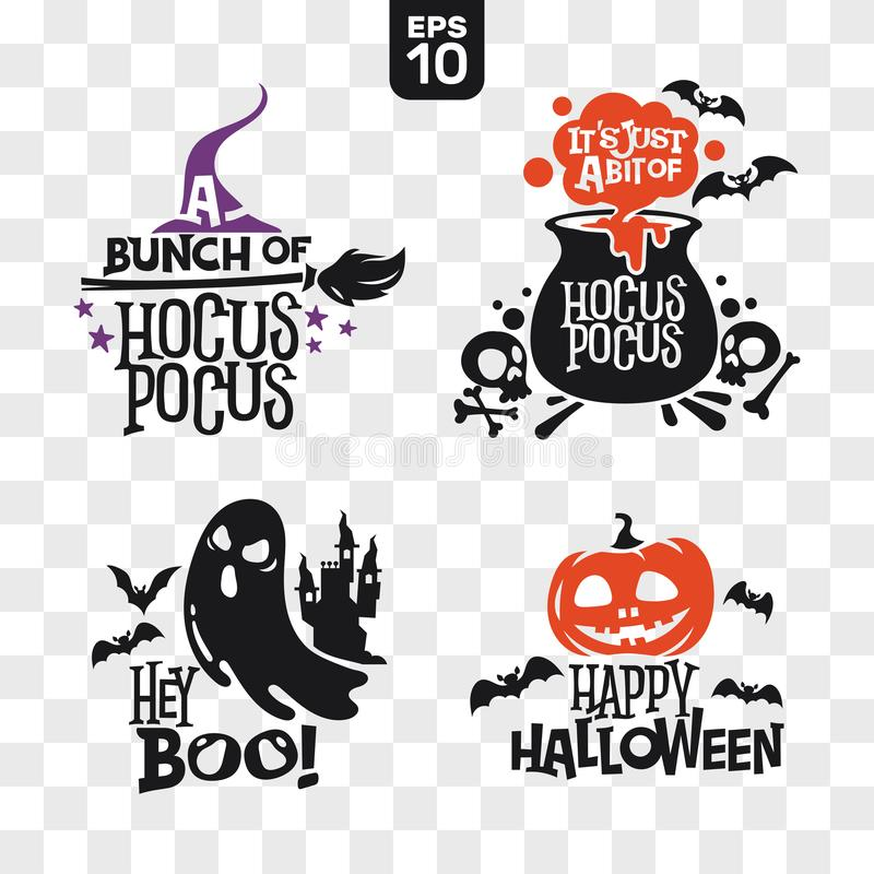 Zestaw sylwetek Ikony Halloween z cytatem na dekoracjÄ™ i naklejkÄ™ tnÄ…cÄ… ilustracja wektor