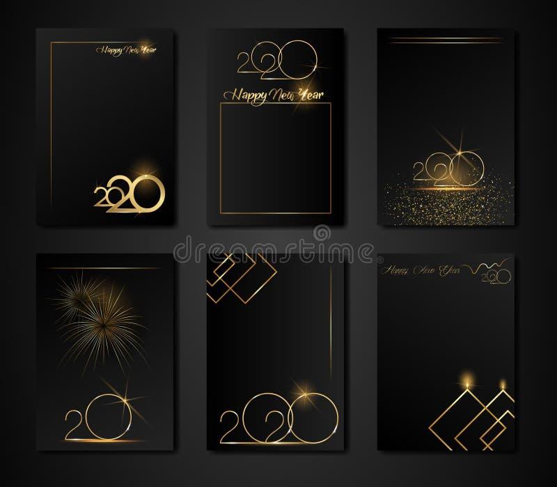 Zestaw szablonów do projektowania ulotki, plakatu, transparentu, broszury dla nowego szczęśliwego roku 2020 kolory czarno-złote T royalty ilustracja