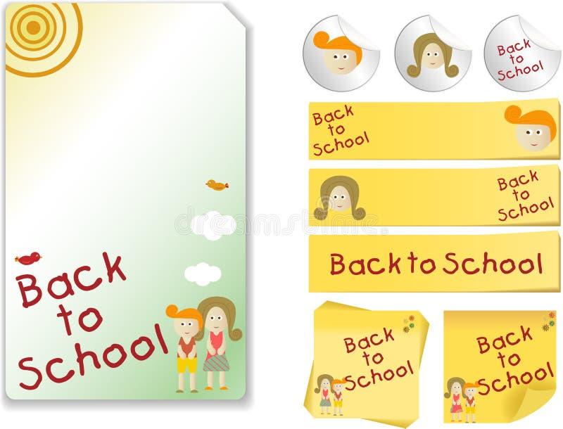 zestaw tylna szkoła ilustracja wektor
