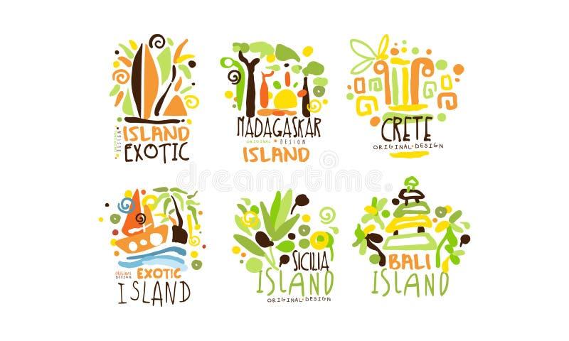Zestaw wektorów projektowania etykiet krajów egzotycznych Tropic Travel Destination Collection ilustracji