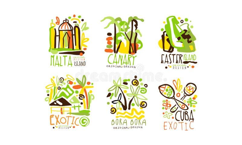 Zestaw wektorów projektowania etykiet krajów egzotycznych Tropic Travel Destination Collection royalty ilustracja