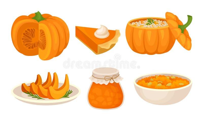 Zestaw wektorów słodkich potraw dyniowych Homemade Autumn Desserts Collection royalty ilustracja
