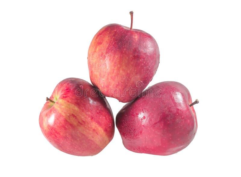 Zestaw widoków na wierzch trzech świeżych, czerwonych jabłek z kroplami wyizolowanymi na białym tle fotografia stock