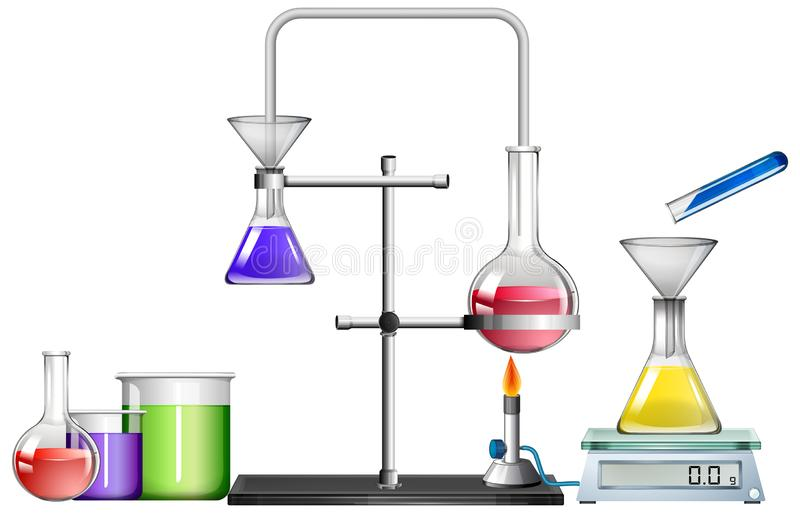 Zestaw wyposażenia naukowego na białym tle ilustracji