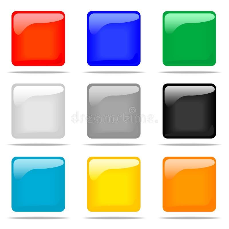 zestawy glansowany guzik square ilustracja wektor