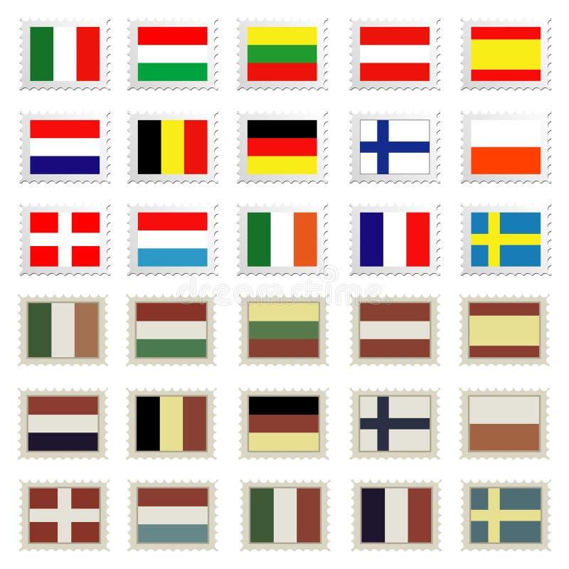 zestawy pieczęci flagę royalty ilustracja