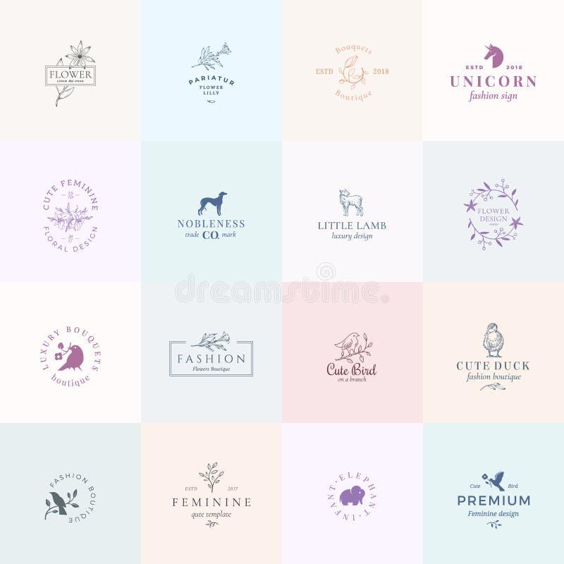 Zestien Abstract Vrouwelijk Vectortekens of Logo Templates Set Retro Bloemenillustratie met Elegante Typografie, Vogels royalty-vrije illustratie