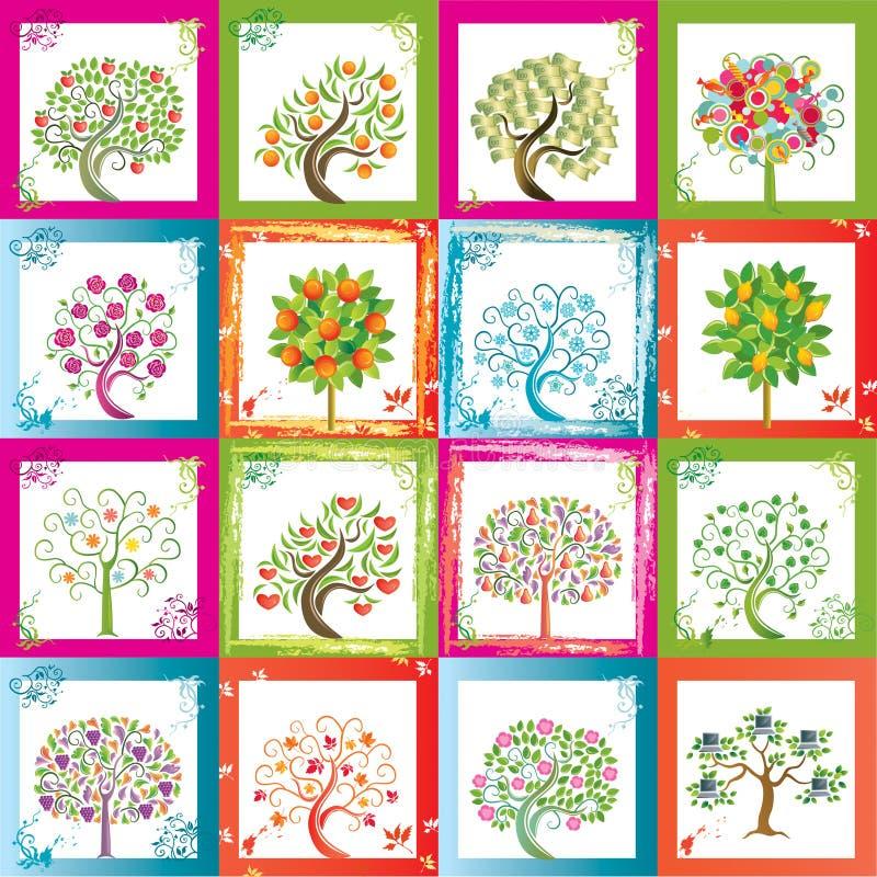 Zestien bomen royalty-vrije illustratie