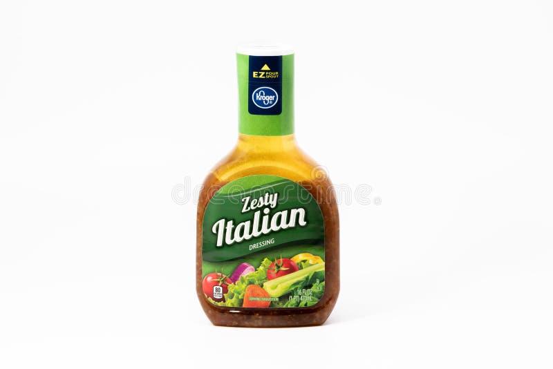 Zesty ιταλική σάλτσα σαλάτας εμπορικών σημάτων Kroger στοκ εικόνα με δικαίωμα ελεύθερης χρήσης