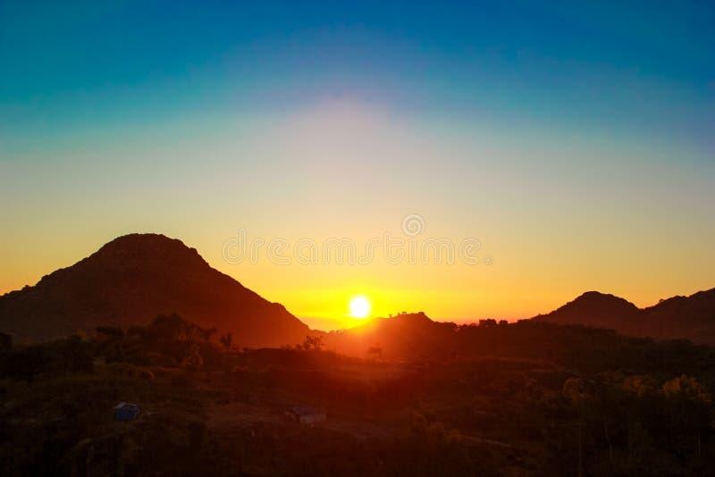 Zet Abu Sunrise op royalty-vrije stock foto