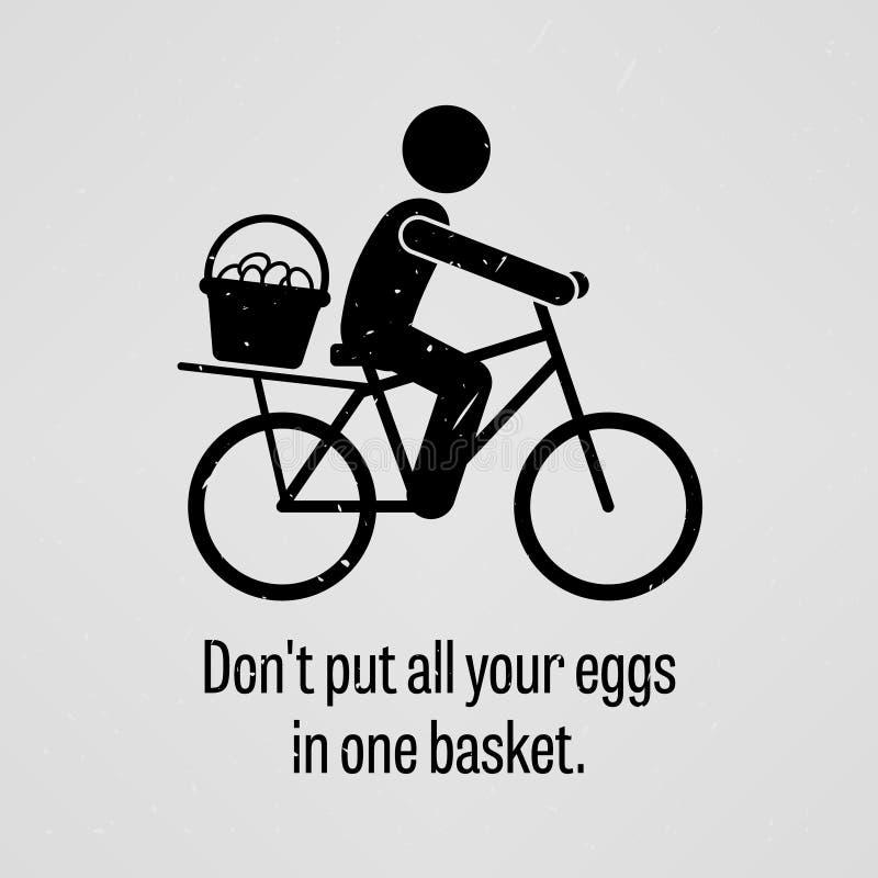 Zet al uw eieren in één mand niet vector illustratie