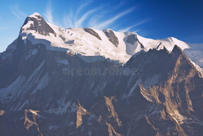 Zet Annapurna IV in Dawn, Nepal op royalty-vrije stock foto