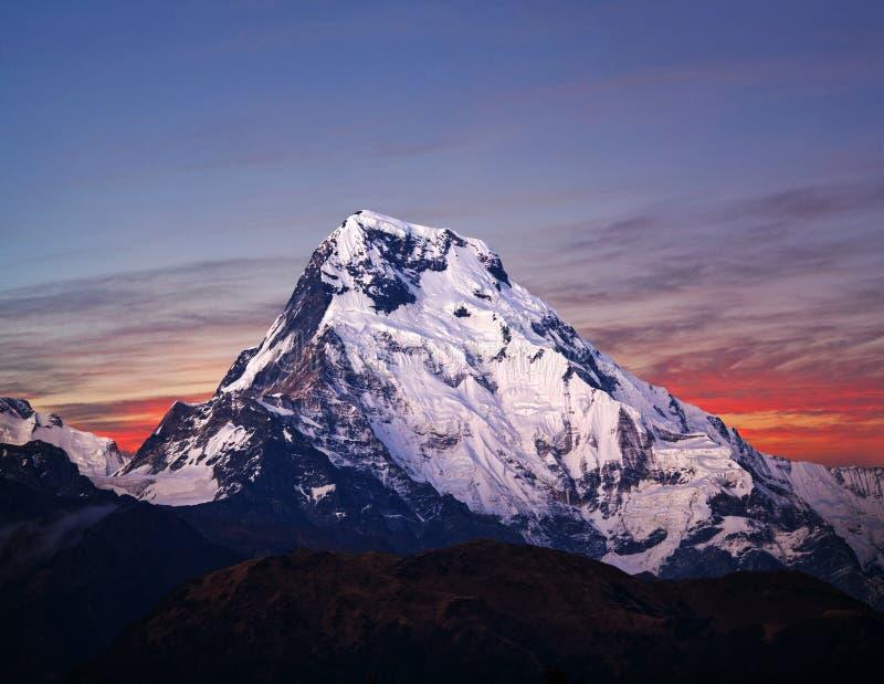 Zet Annapurna-Zuiden, Nepal Himalayagebergte op stock foto's