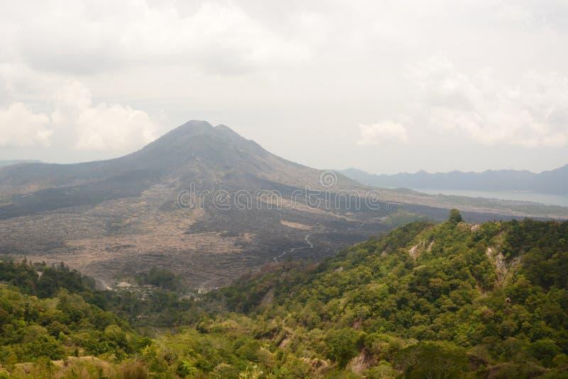 Zet Batur-lavagebied en meer op Kintamani bali indonesië stock foto's