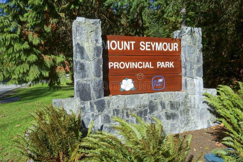 Zet BC op Seymour Provincial Park Entrance Table-de Bergen Vancouver van de het Noordenkust stock afbeelding