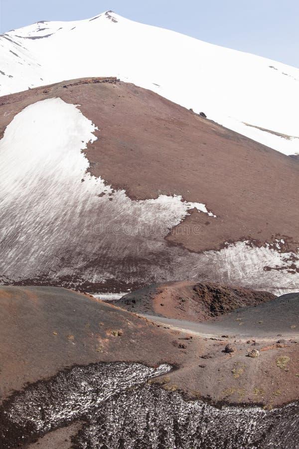 Zet de behandelde piek van vulkaanetna sneeuw op Sicilië, Italië royalty-vrije stock fotografie