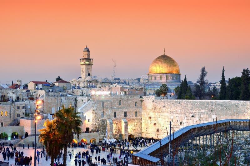 Zet de Oude Stad van Jeruzalem bij Tempel op royalty-vrije stock fotografie