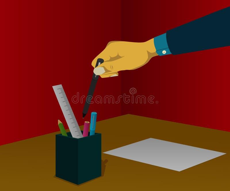 Zet de pen in plaats van kantoorbehoeften royalty-vrije stock foto