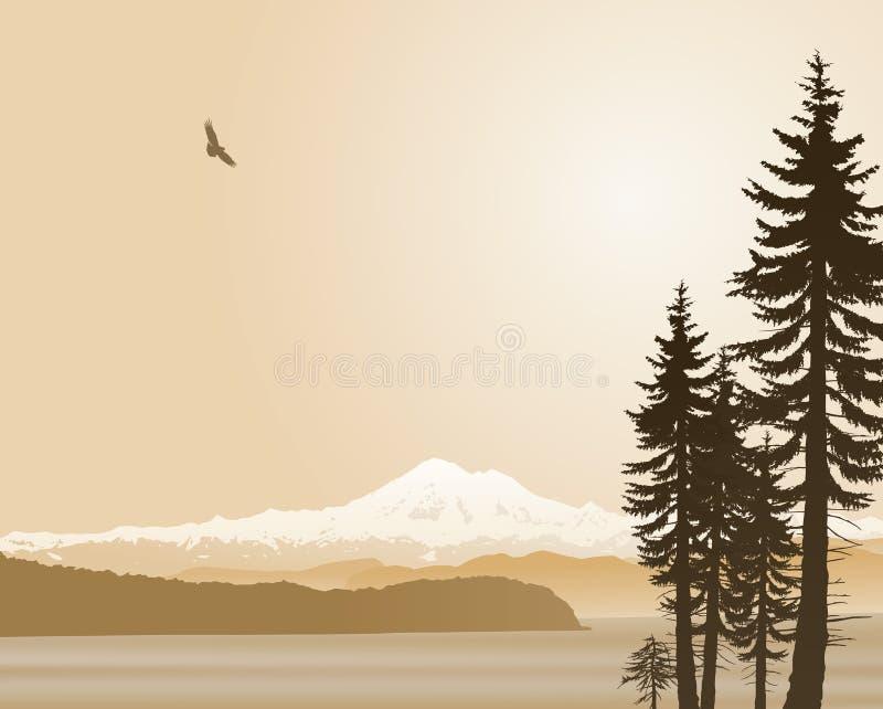 Zet de Staat van Baker Washington in sepia op royalty-vrije illustratie