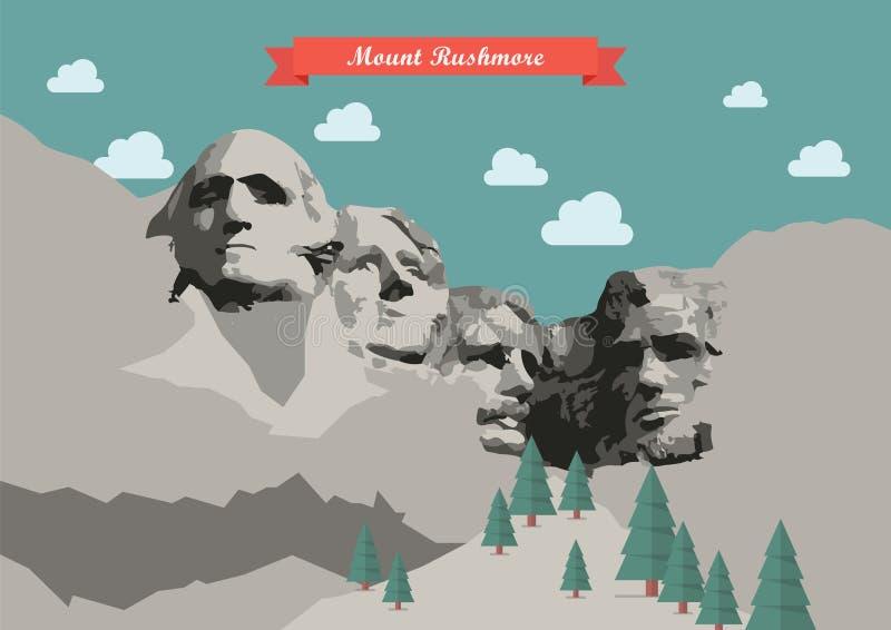 Zet de Vectorillustratie van Rushmore op stock illustratie