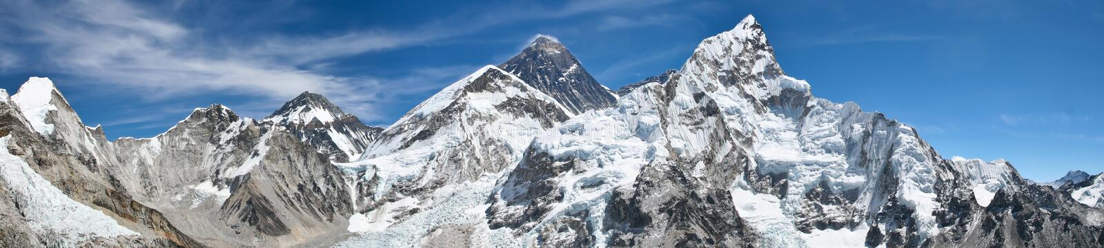 Zet Everest panoramamening op stock afbeeldingen