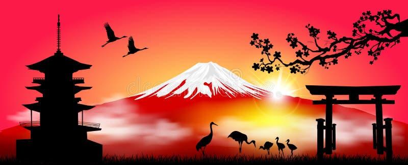 Zet Fuji in de ochtend bij zonsopgang op royalty-vrije illustratie