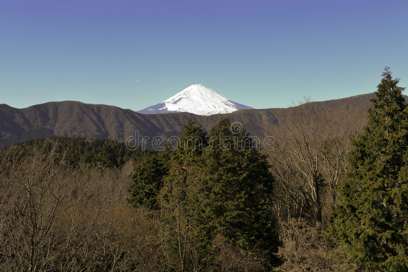 Zet Fuji in de Winter op royalty-vrije stock foto's