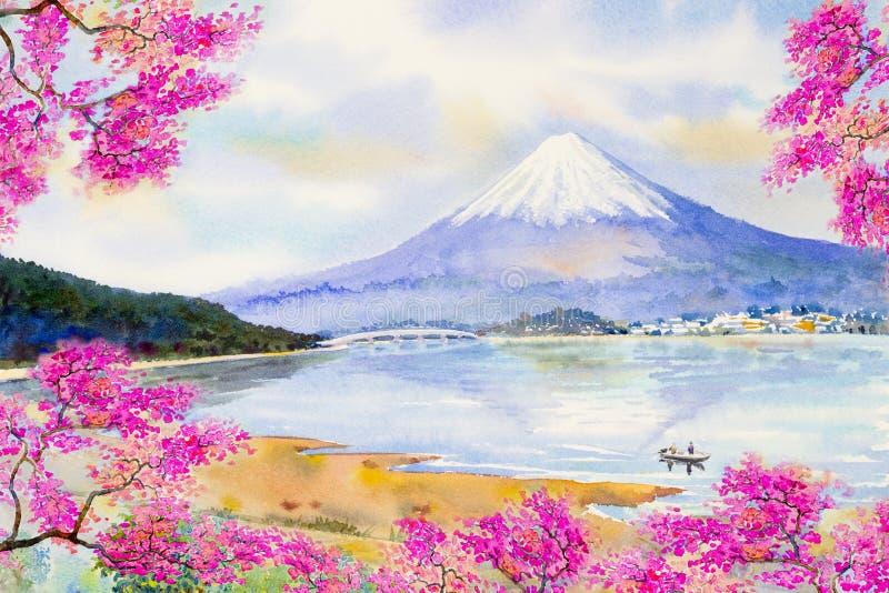 Zet Fuji en de bloesem van de sakurakers bij Meer op royalty-vrije illustratie