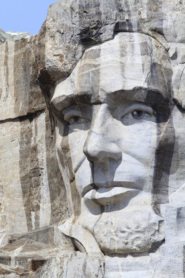 Zet het Nationale Gedenkteken van Rushmore met President Abraham Lincoln op royalty-vrije stock fotografie