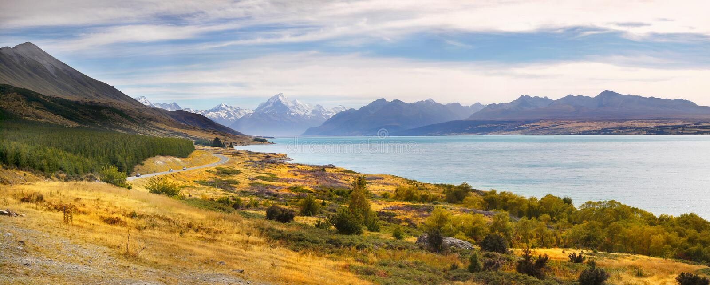 Zet het nationale park van Cook, Nieuw Zeeland op stock afbeelding