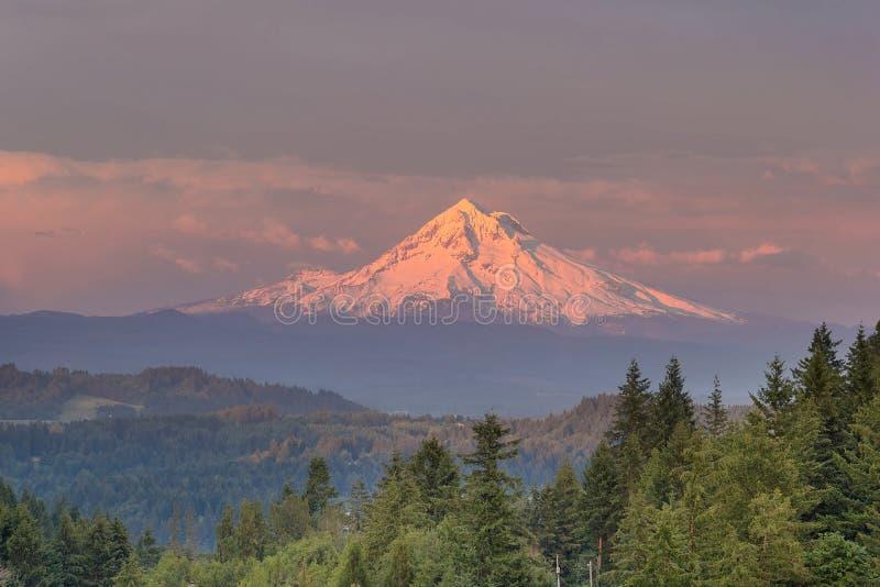 Zet Hood Alpenglow Sunset op stock foto