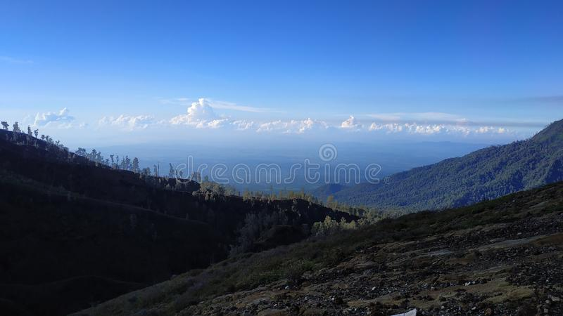 Zet Ijen-Krater, Bondowoso-Gebied, Indonesië op stock foto
