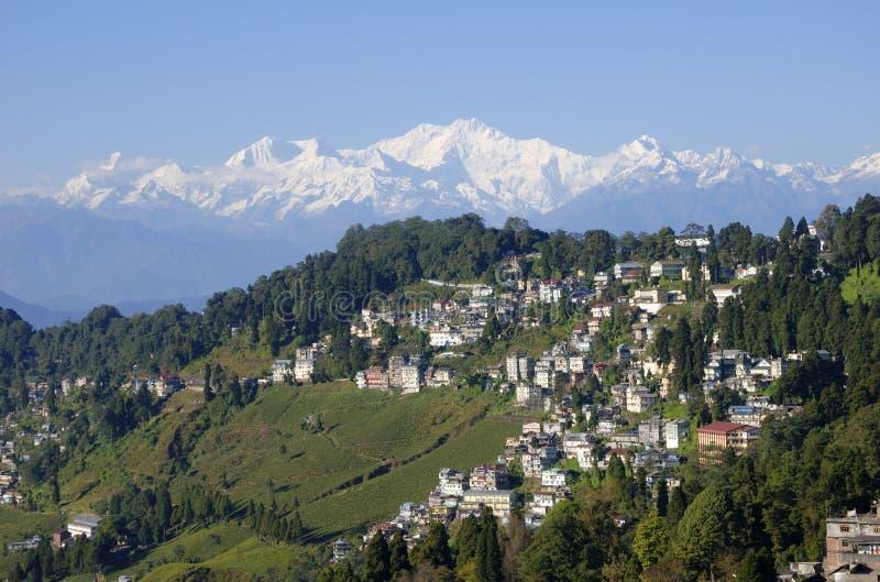 Zet Kanchenjunga en Darjeeling op stock afbeelding