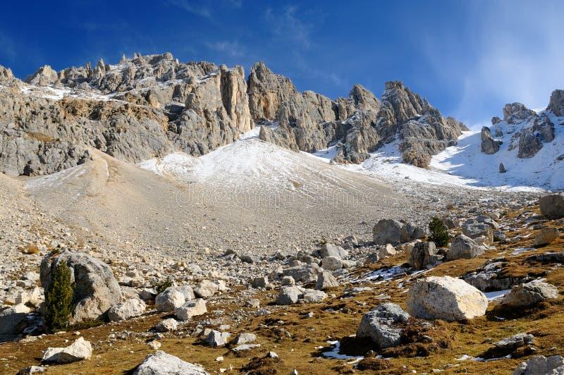 Zet Latemar in de Alpen, Italië op stock fotografie
