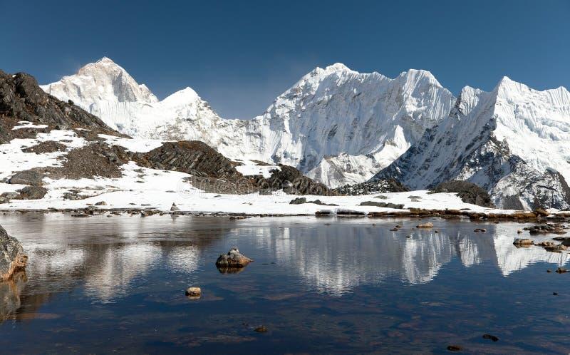 Zet Makalu boven meer dichtbij Kongma-de pas van La op stock foto's