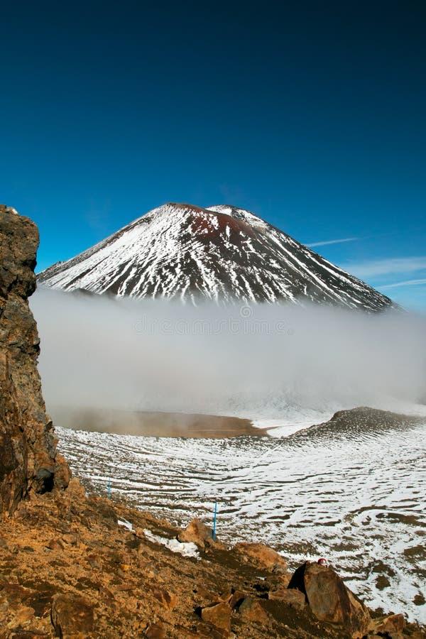 Zet Ngauruhoe-mening met de berg die van de Duivels` s Trap en bij Tongariro-kruising beklimmen op stappen royalty-vrije stock foto's