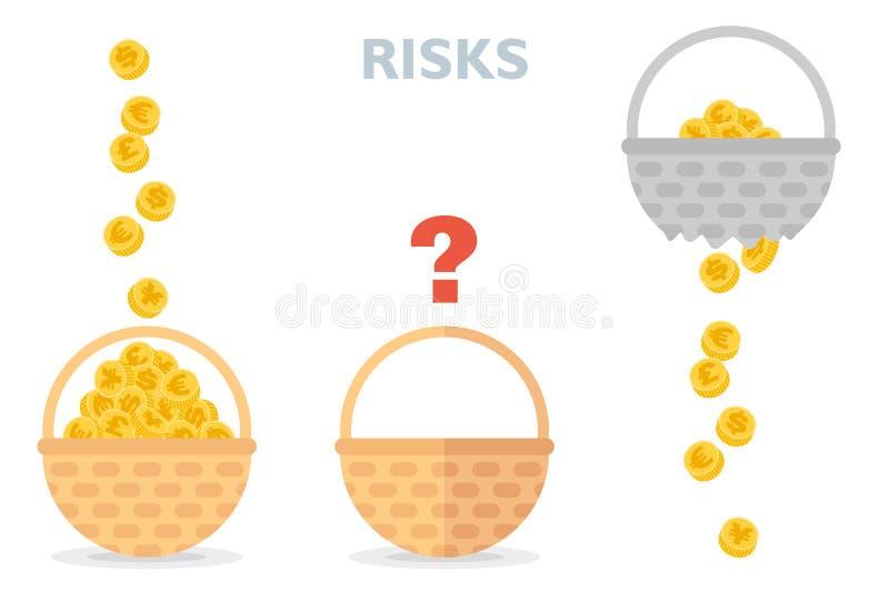 Zet nooit alle eieren in één mand vectorillustratie van risico'sdiversificatie stock illustratie