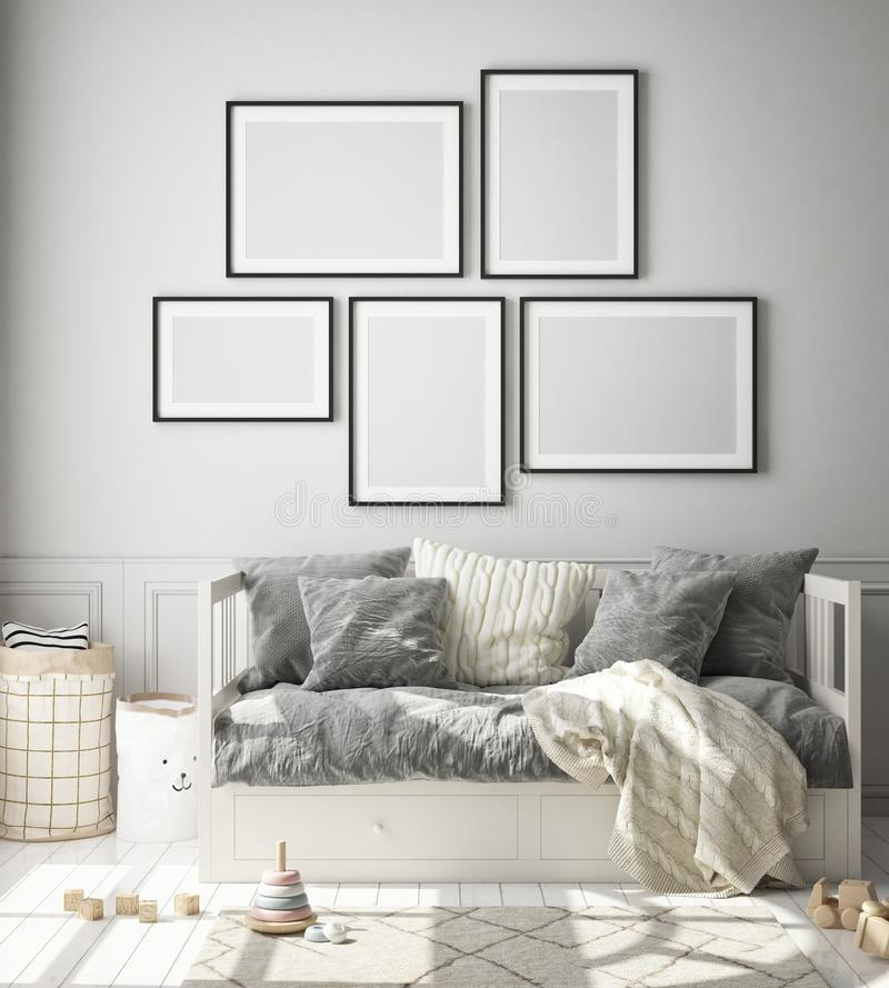 Zet posterframe op in kinderslaapkamer, Scandinavische stijl interieurachtergrond, 3D-weergave royalty-vrije illustratie