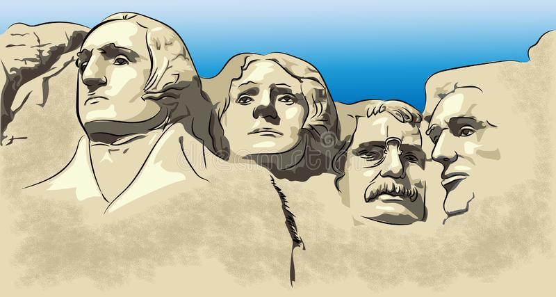 Zet Rushmore, bergmuseum, bergaantrekkelijkheid op stock illustratie