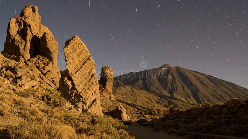 Zet 's nachts Teide op royalty-vrije stock foto's